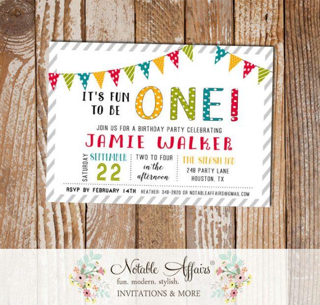 1st Birthday First Birthday Colorful Bunting Stripes invitation
