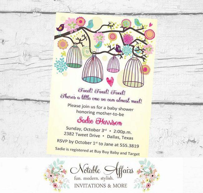 A little birdie told us Bird Cages Little Birdie Birthday Tweet Baby Shower Housewarming Bridal Shower Invitation