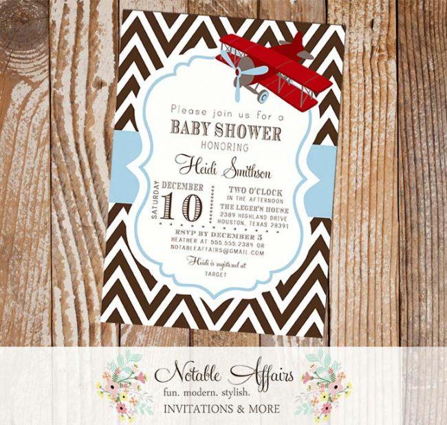 Airplane Dark Brown and Light Baby Boy Baby Shower Birthday invitation