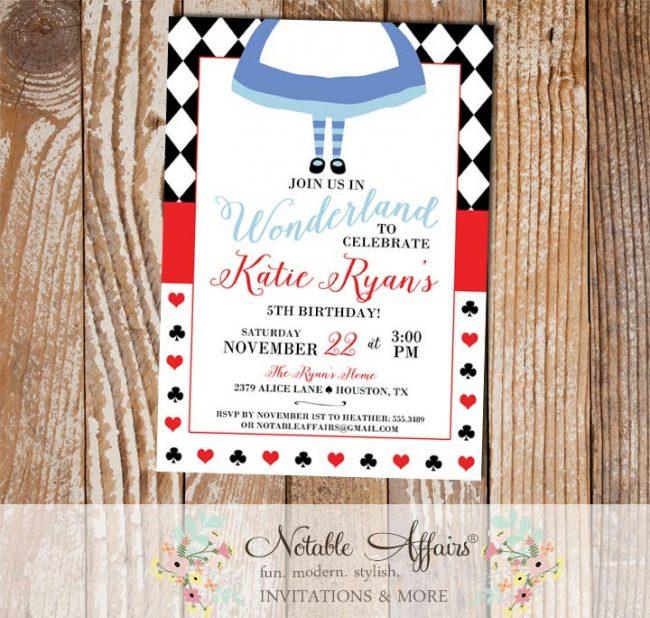 Alice in Wonderland Inspired Birthday Party invitation