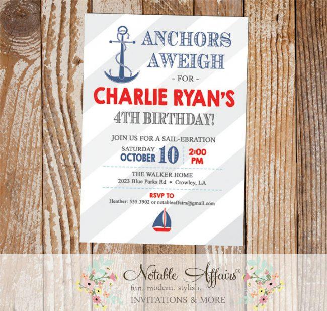 Anchor Nautical Sailing Light Navy Red Diagonal Gray Stripes with Anchor and Sail boat birthday party invitation