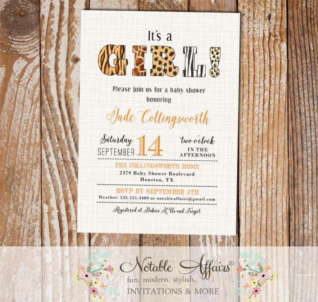 Animal Print Its a girl baby shower invitation on light brown linen