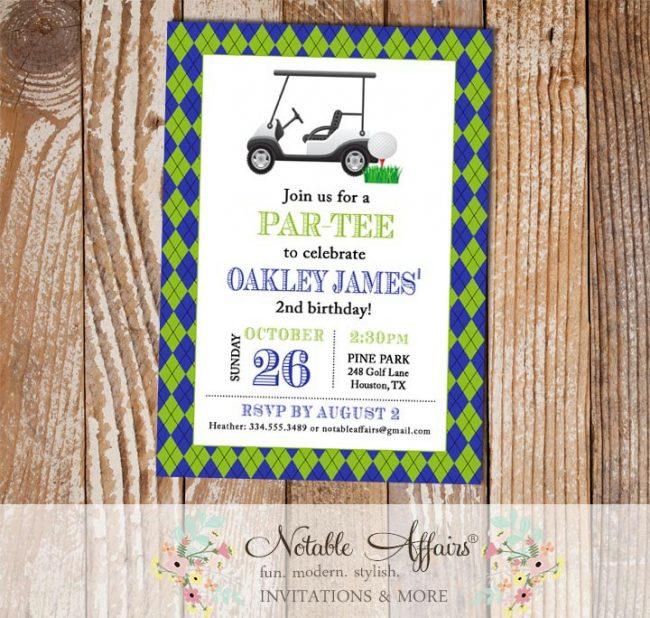 Argyle Golf Cart Golf Ball Birthday Party invitation
