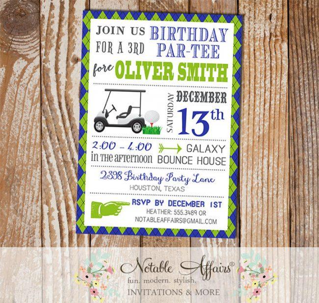 Argyle Plaid Golf Birthday Party invitation