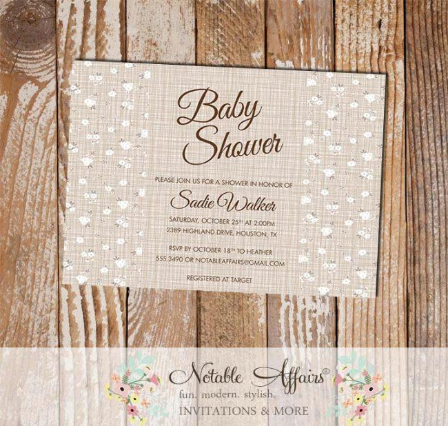 Babies Breath on Brown Linen background