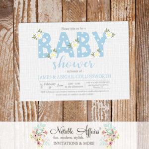 Baby Blue Flower Posie Modern Floral Baby Shower invitation on gray linen