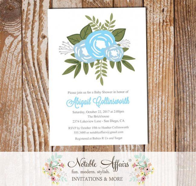 Baby Blue Ice Blue Flower Posie Modern Floral Baby Shower invitation