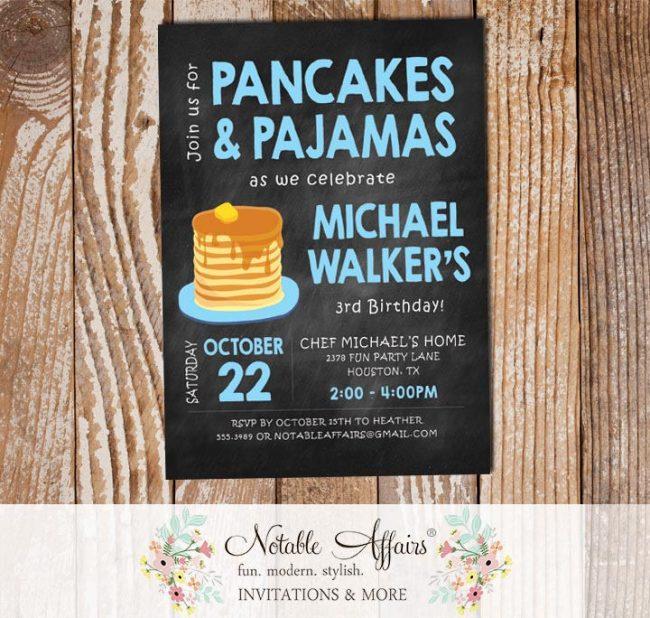 Baby Blue Modern Chalkboard Pancakes and Pajamas Boy Birthday invitation