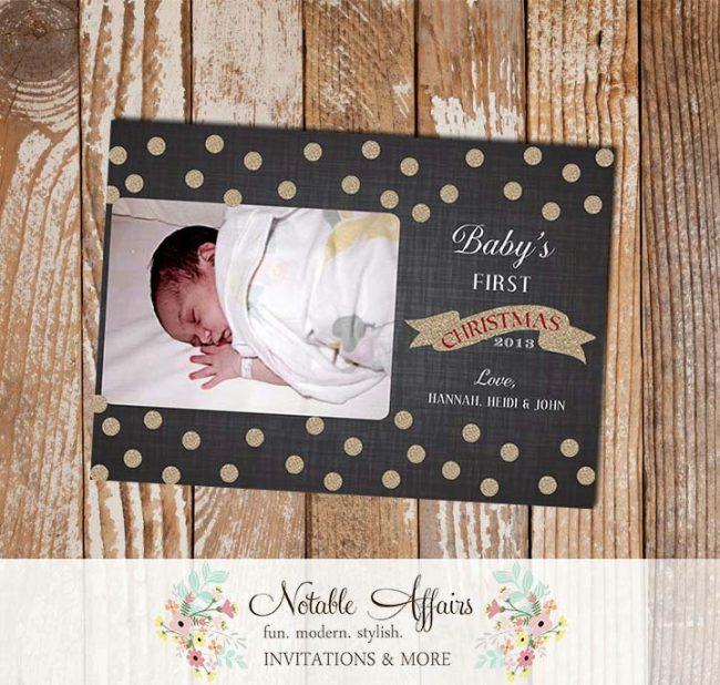 Baby First ChristmasGold Glitter Sparkle dark linen Polka Dot Holiday Photo Card