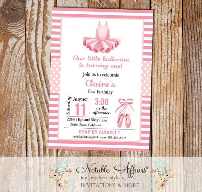 Ballet Ballerina Tutu Pink Birthday or Baby Shower Invitation
