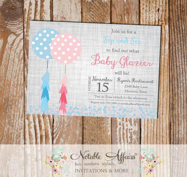 Balloon Fringe Tassels with Confetti Gender Reveal invitation on gray linen