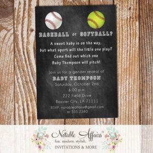 Baseball or Softball Baby Shower Gender Reveal Party Invitation