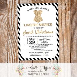 Black and Gold Glitter Modern Lingerie Shower invitation with diagonal stripes