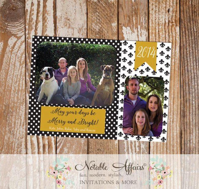 Black and Gold Polka Dots Fleur De Lis Merry Christmas Photo Card