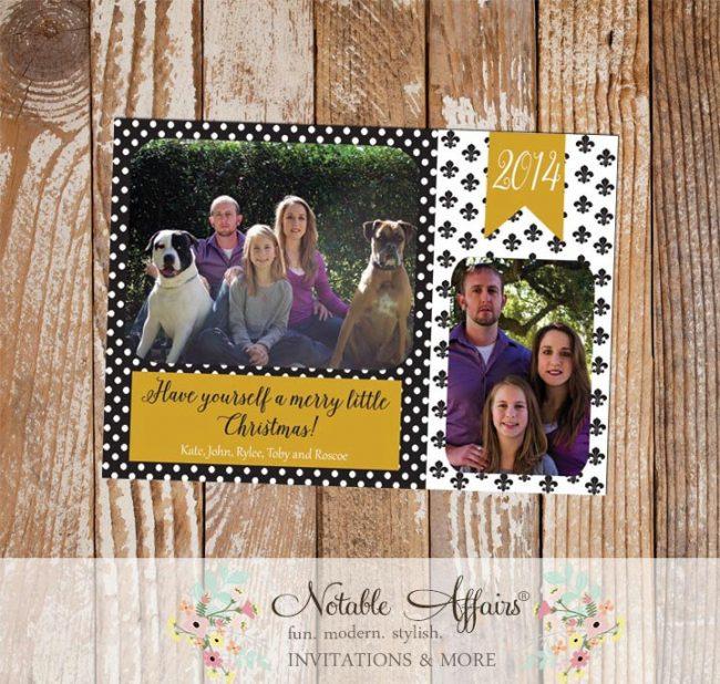 Black and Gold Polka Dots Fleur De Lis Merry Little Christmas Photo Card