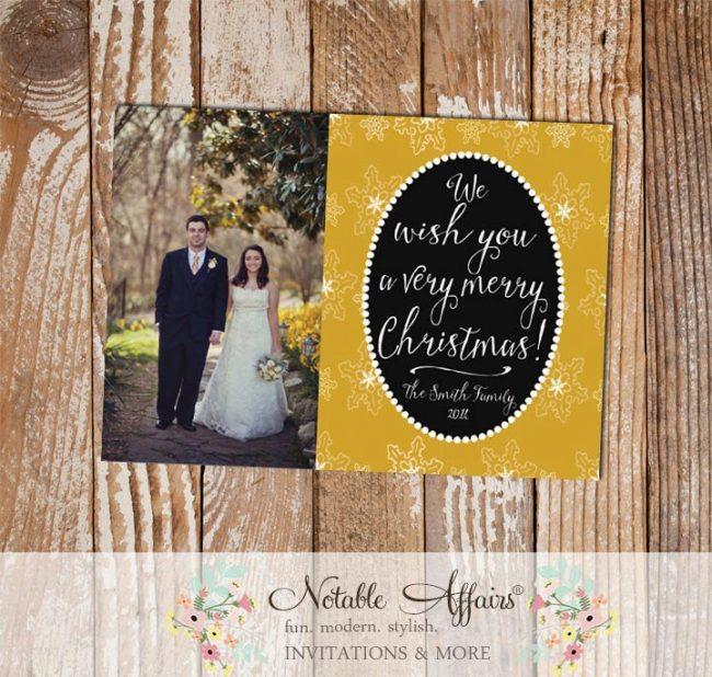 Black and Gold Snowflake Pearl Modern Christmas Photo Card