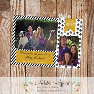 Black and Gold Stripes Fleur De Lis Merry Little Christmas Photo Card