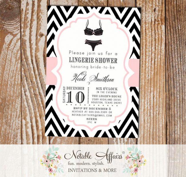 Black and Light Pink Chevron Lingerie Shower Bachelorette Party bridal party shower invitation