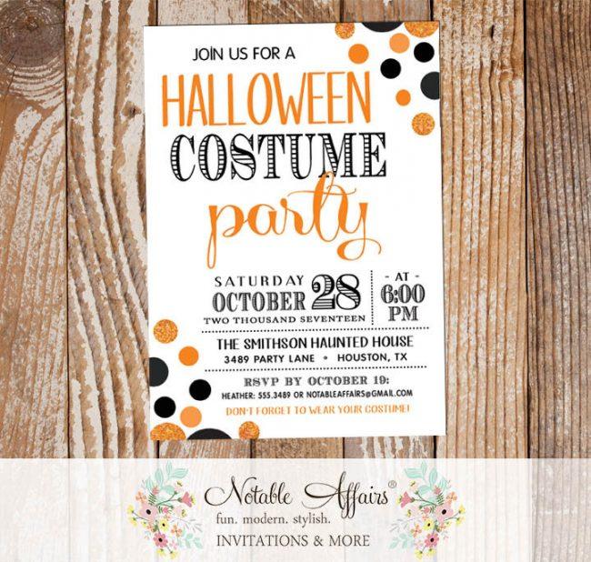 Black and Orange Confetti Dots Halloween Costume Party invitation