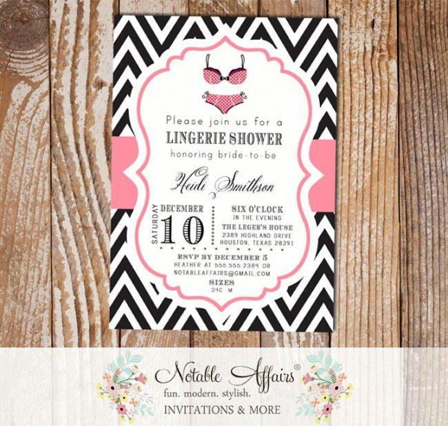 Black and Pink Chevron Lingerie Bachelorette bridal party shower invitation