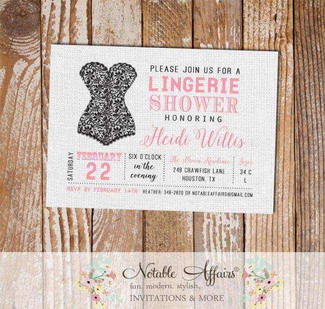 Black and Pink Lingerie Shower invitation on gray burlap