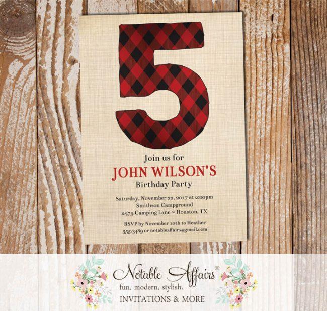 Black and Red Number Lumberjack Camping Birthday Invitation