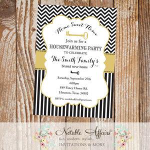 Black and Tan Gold Chevron Stripes Housewarming Party Invitation