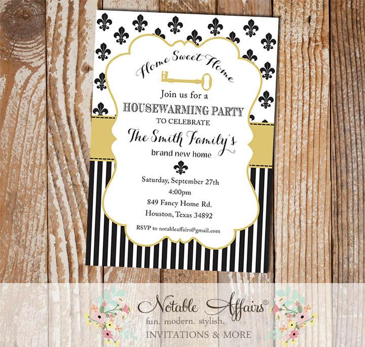 Black and Tan Gold Fleur De Lis Housewarming Party Invitation ...