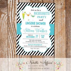 Black and Turquoise Diagonal Stripes Bachelorette Lingerie Shower Party invitation