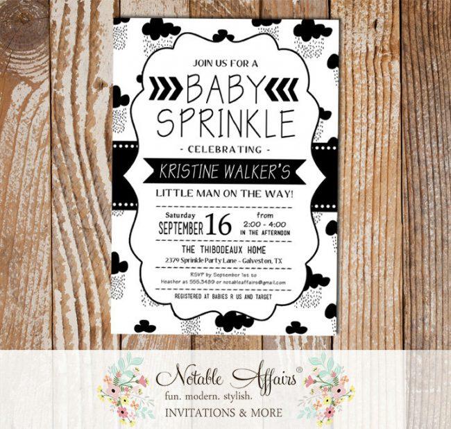 Black and White Cloud Sprinkles Minimalist Baby Sprinkle invitation