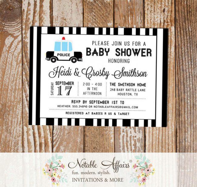 Black and White Police Car Stripes Baby Shower invitation