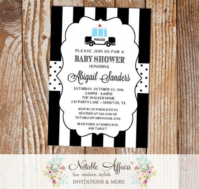 Black and White Vertical Stripes Polka Dots Police Car Baby Shower invitation