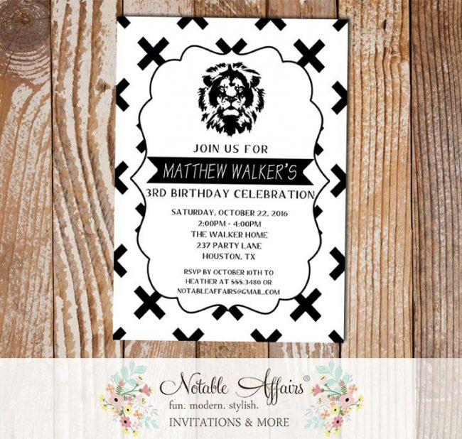 Black and White X Cross Lion head Minimalist Birthday invitation