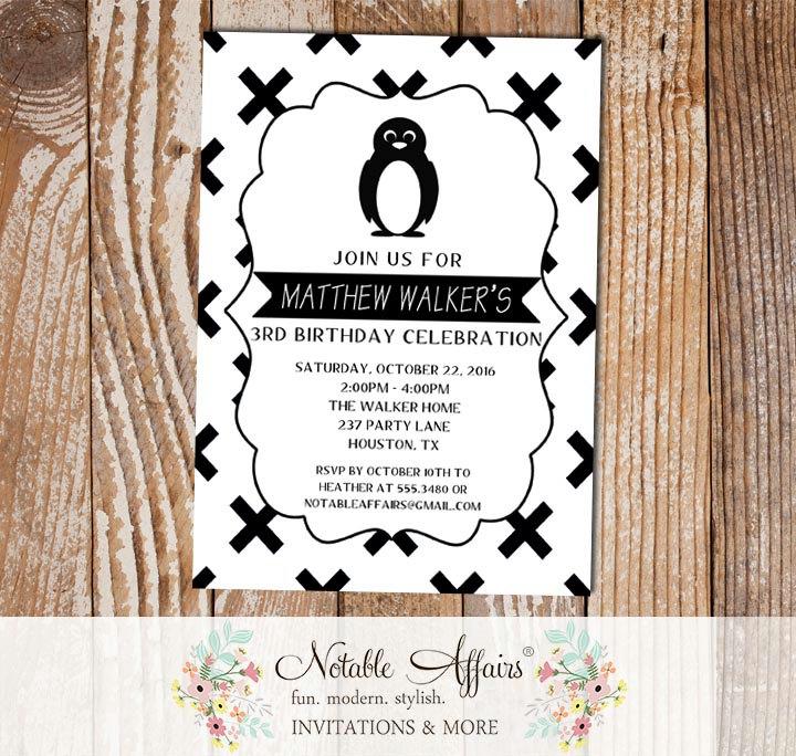 Black And White X Cross Penguin Minimalist Birthday Invitation