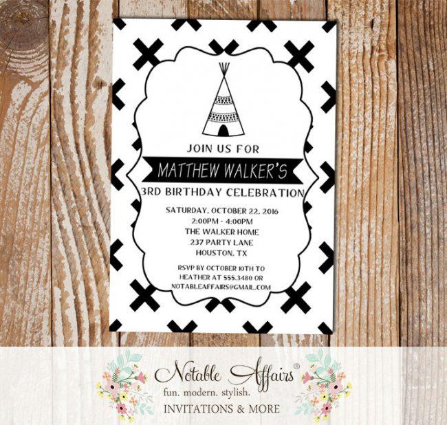 Black and White X Cross Teepee Minimalist Birthday invitation