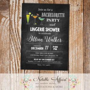Black Chalkboard Bachelorette Lingerie Shower Party invitation