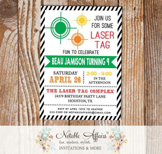 Black Diagonal Stripe Laser Tag Target Laser War Invitation Modern Birthday invitation Any age