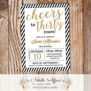 Black Gold Glitter Diagonal Stripes Milestone 30 Thirty Birthday invitation