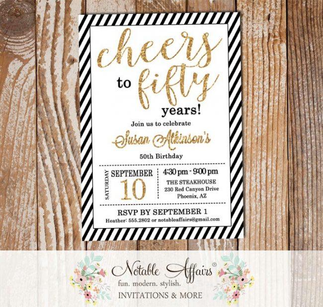 Black Gold Glitter Diagonal Stripes Milestone 50 Fifty Birthday invitation