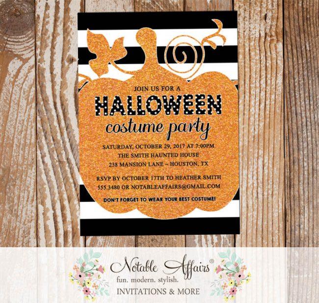 Black Orange Fake Glitter pumpkin Halloween Costume Party invitation