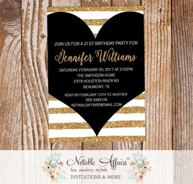 Black Stripes Gold Heart Birthday Baby Shower invitation