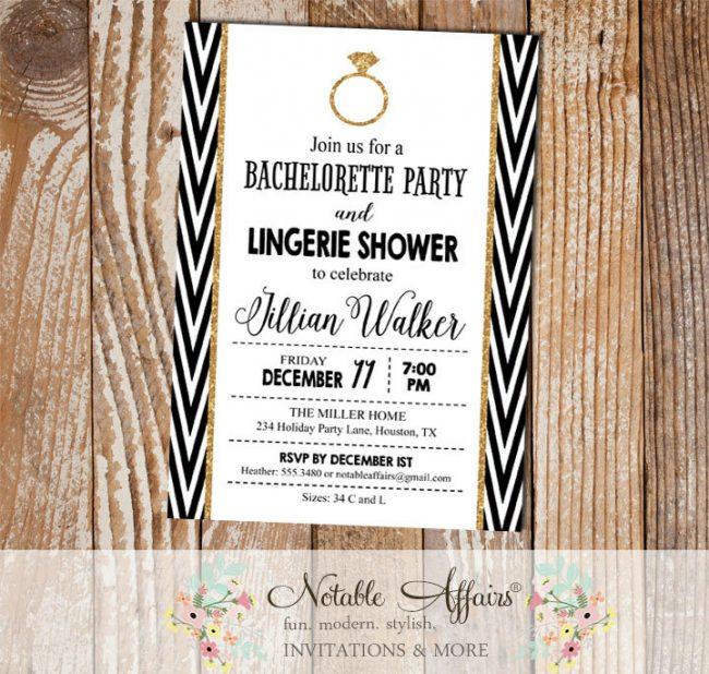 Black White and Gold Glitter Side Chevron Bachelorette Lingerie Shower Party invitation