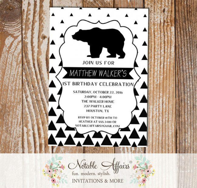 Black White Gradual Triangle Minimalist Bear Birthday invitation