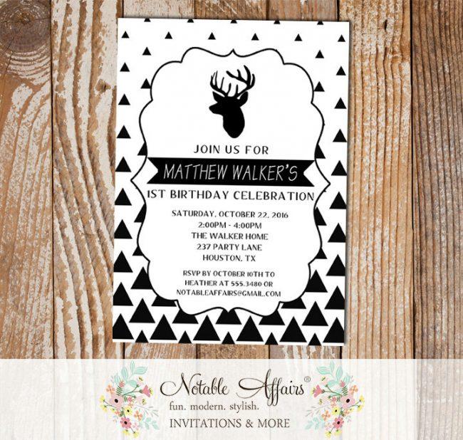 Black White Gradual Triangle Minimalist Deer Birthday invitation