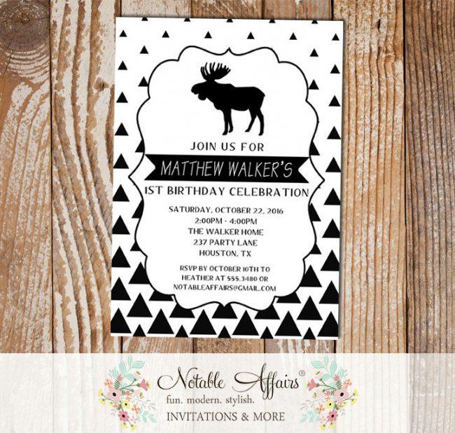 Black White Gradual Triangle Minimalist Moose Birthday invitation