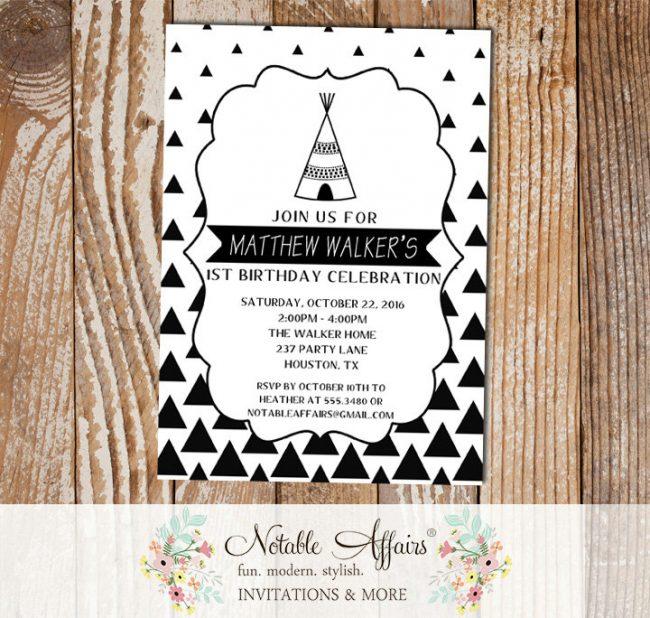 Black White Gradual Triangle Minimalist Teepee Birthday invitation