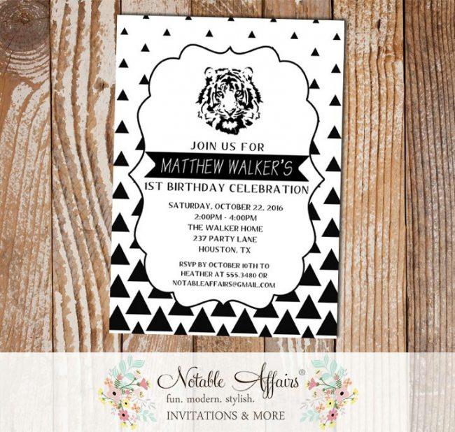 Black White Gradual Triangle Minimalist Tiger Birthday invitation