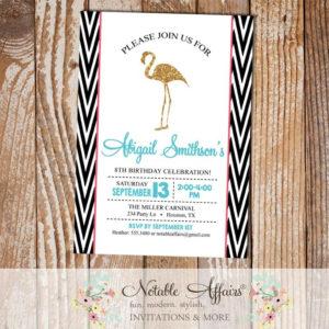 Black white side chevron gold glitter Flamingo modern Birthday Party Invitation