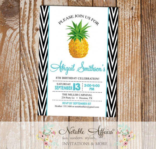 Black White Side Chevron Turquoise Pineapple Birthday Party Invitation