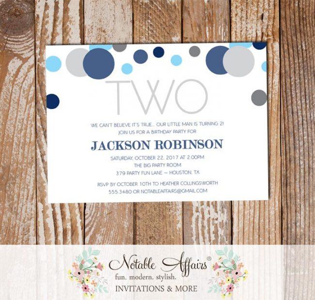 Blue and Gray Confetti Polka Dots Sprinkles Second Birthday Invitation